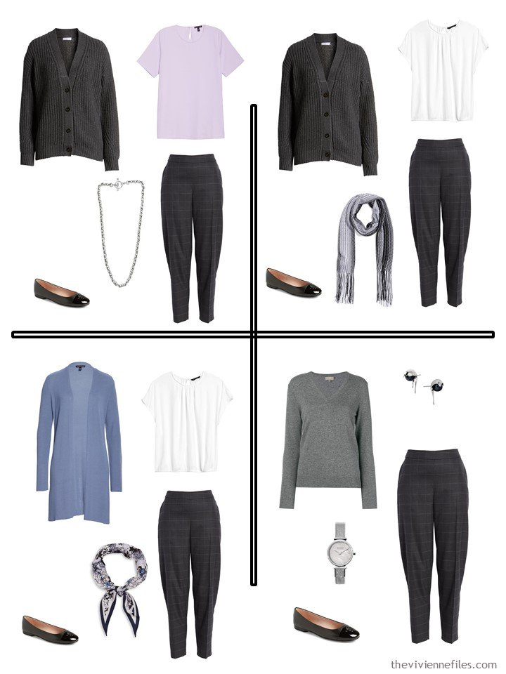 11. 4 outfits from a wardrobe cluster in charcoal and pastels