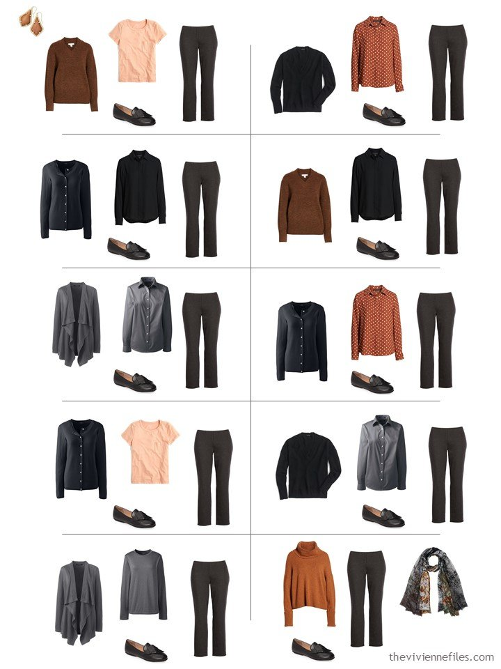 12. 10 ways to wear charcoal pants from a travel capsule wardrobe