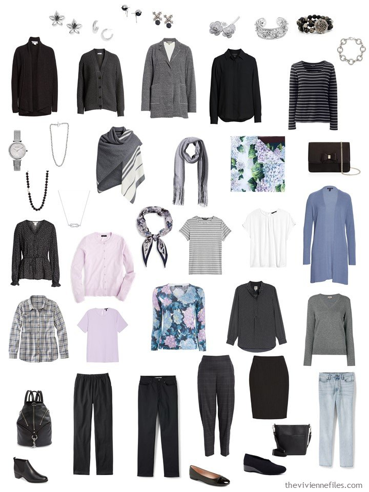 12. 4-cluster travel wardrobe in black, grey, pink and sky blue