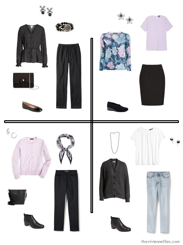 13. 4 outfits from a 20-piece travel capsule wardrobe