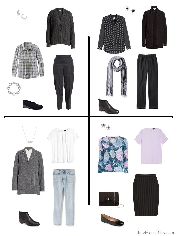 14. 4 outfits from a 20-piece travel capsule wardrobe