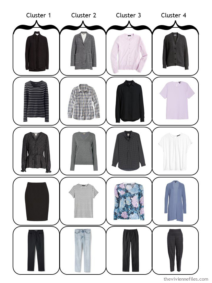15. 4-cluster travel capsule wardrobe template in black, grey, and pastels