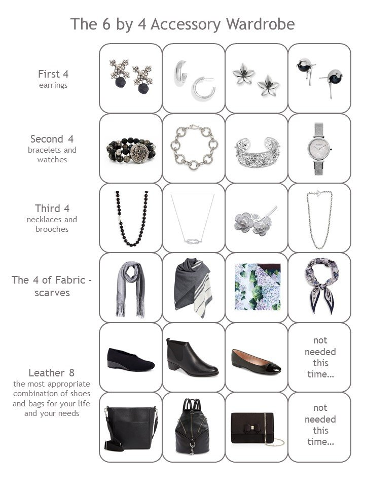 16. 4 cluster accessory wardrobe in black, silver and floral