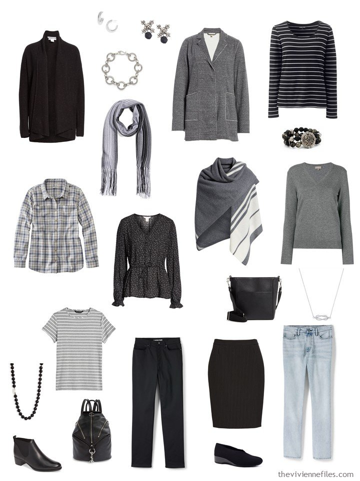 2. 2 cluster travel capsule wardrobe in black and grey