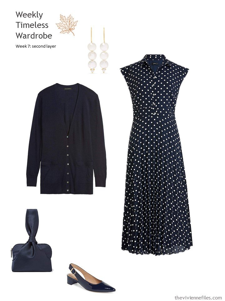3. navy dotted dress and cardigan