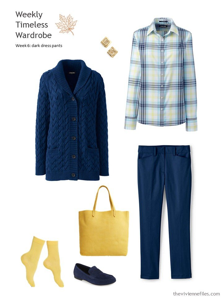 3. navy pants and cardigan with yellow accents