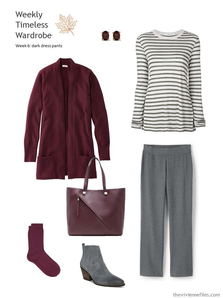 4. grey pants with burgundy cardigan