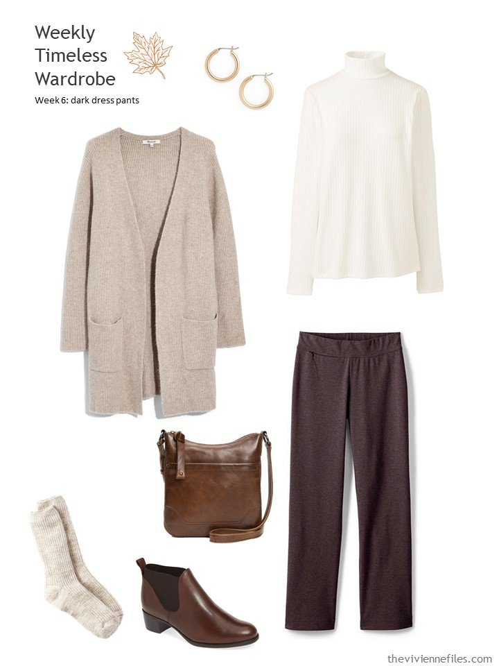5. brown pants with tan cardigan and ivory turtleneck