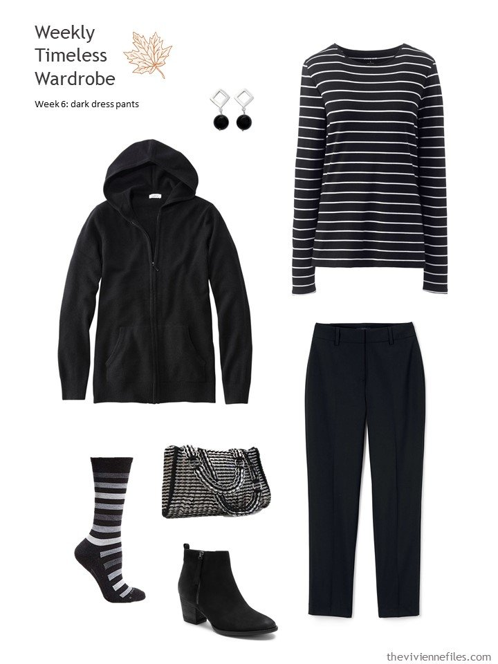 6. black pants accented with black and white stripes