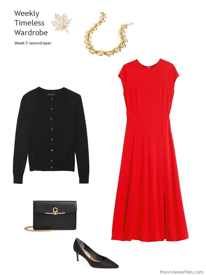 6. red dress with a black cardigan