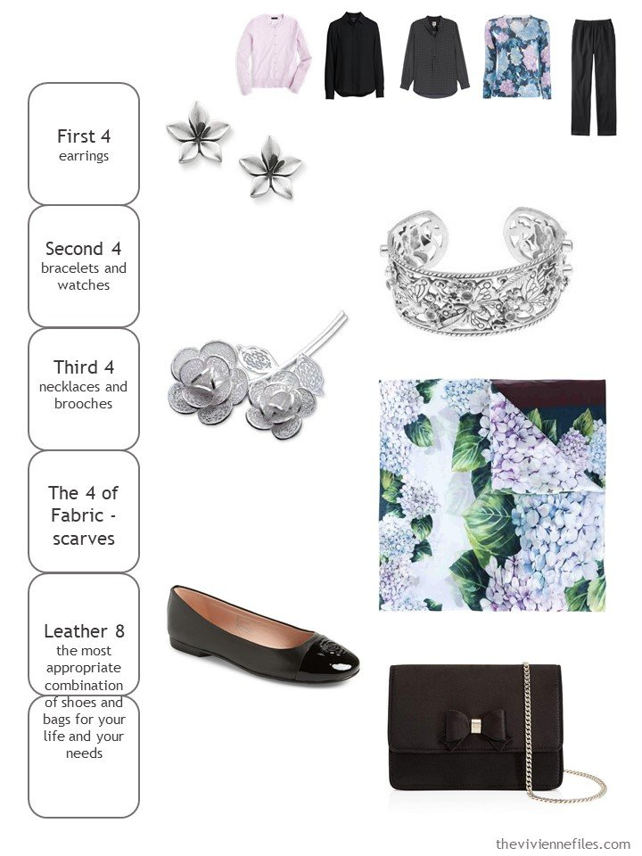 7. accessory cluster in black, silver, and hydrangea floral