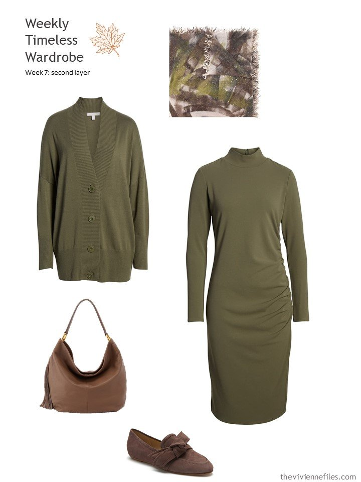 7. olive dress and cardigan with brown leather accessories