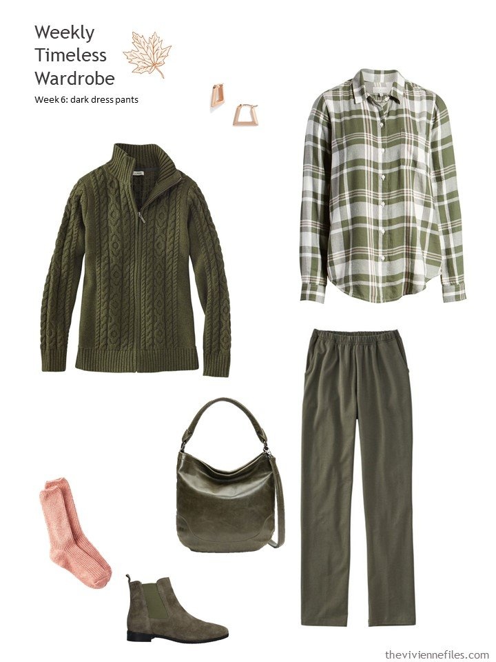 7. olive pants outfit accented with blush