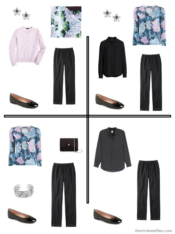 8. 4 outfits froma 5-piece wardrobe cluster in black, pink and floral