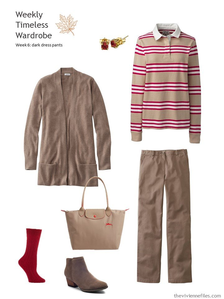 8. brown pants and cardigan with striped rugby jersey