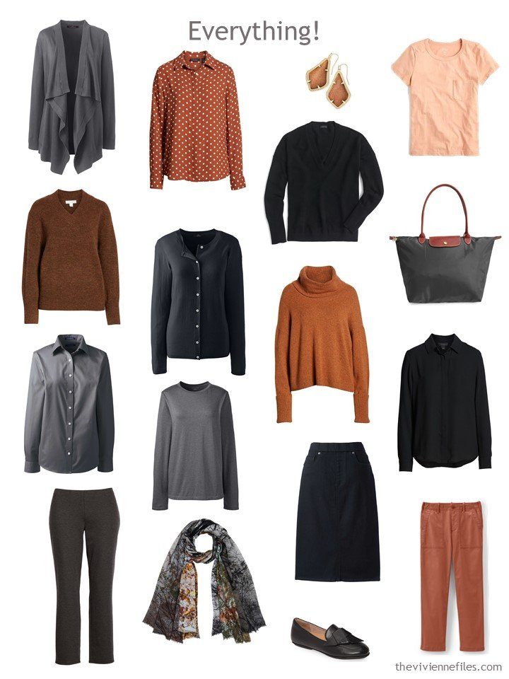 9. Travel capsule wardrobe in black, dark grey and shades of rust