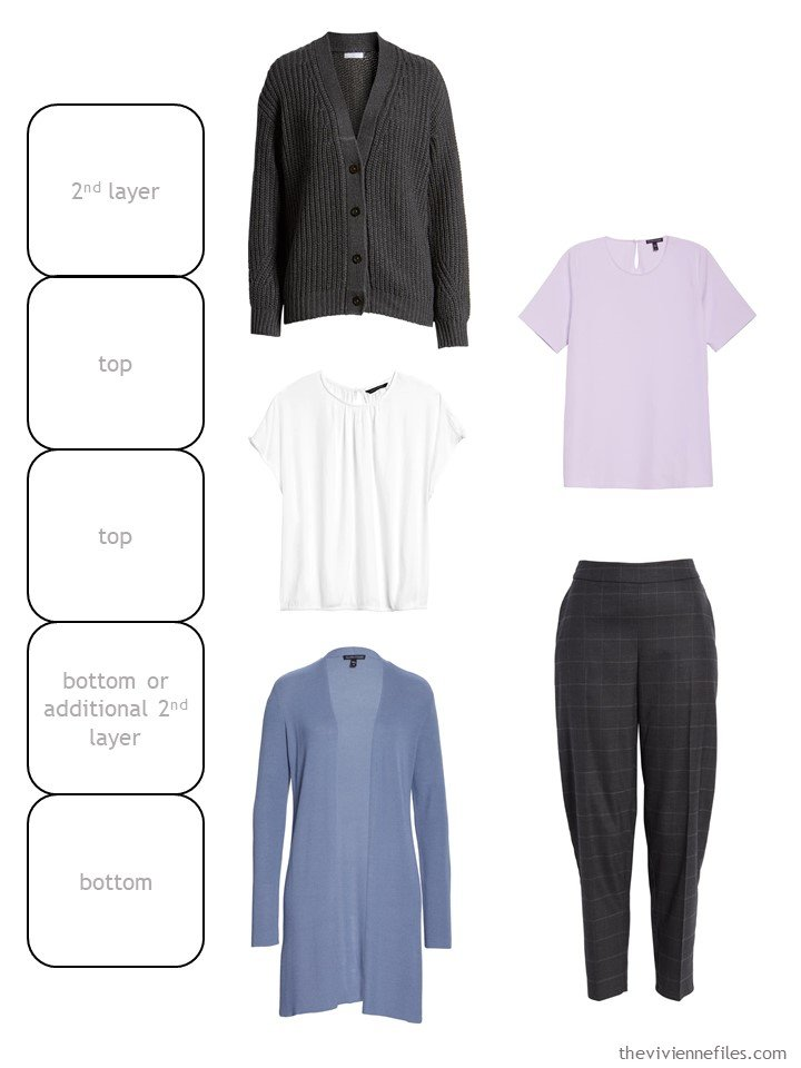 9. wardrobe cluster in charcoal grey, lilac and sky blue