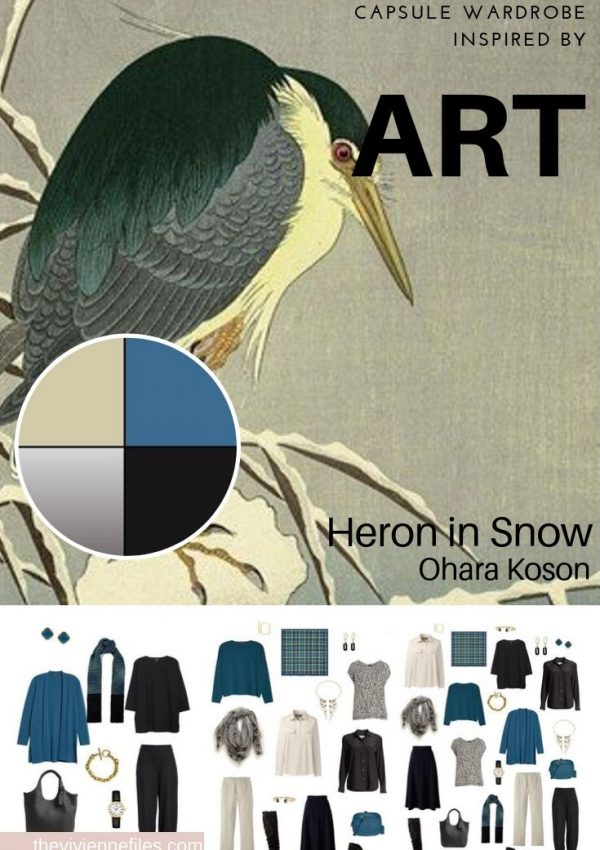 CREATE A TRAVEL CAPSULE WARDROBE - START WITH ART: HERON IN SNOW BY OHARA KOSON