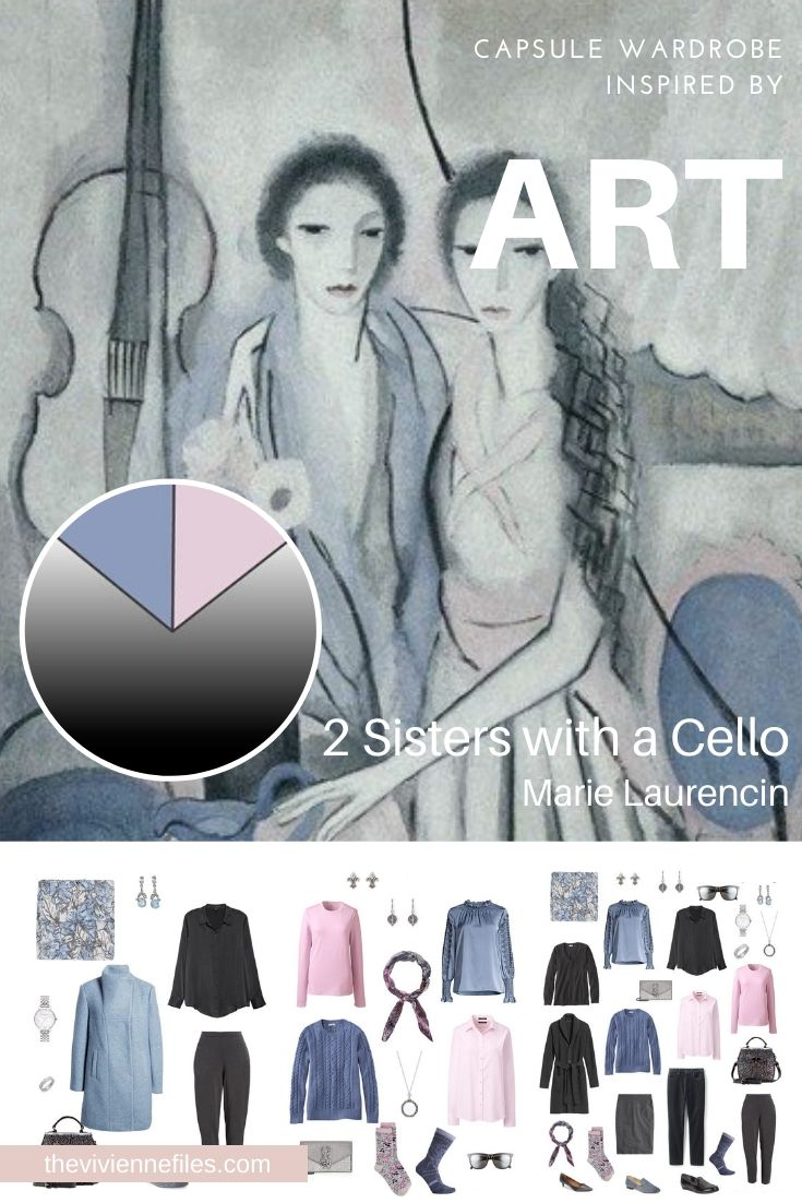 CREATE A TRAVEL CAPSULE WARDROBE - START WITH ART: 2 SISTERS WITH A CELLO BY MARIE LAURENCIN