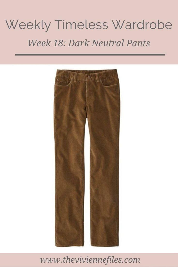 THE WEEKLY TIMELESS WARDROBE, WEEK 18: DARK NEUTRAL CORDUROY PANTS