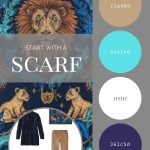 CREATE A TRAVEL CAPSULE WARDROBE - START WITH A SCARF: LION AND PEACOCK SCARF BY ASPINAL OF LONDON, IN NAVY AND CAMEL