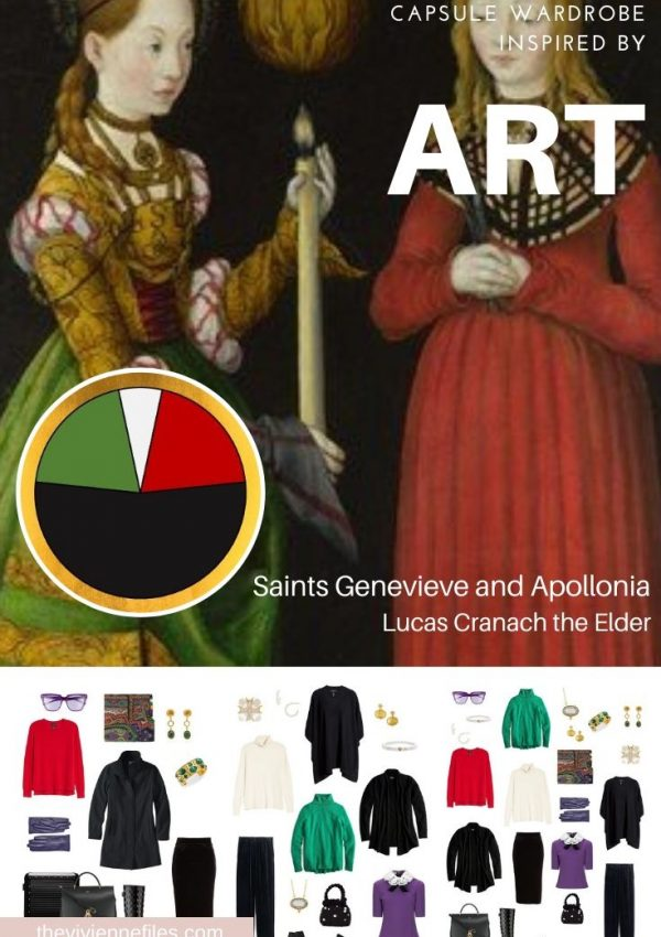 CREATE A TRAVEL CAPSULE WARDROBE INSPIRED BY ART - START WITH ART FOR COLD, WET WEATHER TRAVEL: SAINTS GENEVIEVE AND APOLLONIA BY LUCAS CRANACH THE ELDER