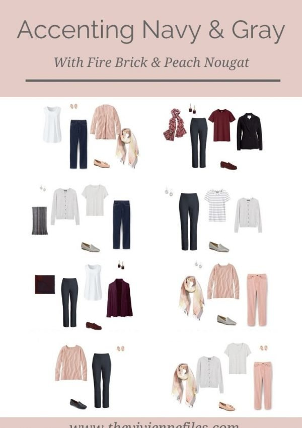 ACCENT A NAVY AND GRAY WARDROBE WITH FIRE BRICK & PEACH NOUGAT