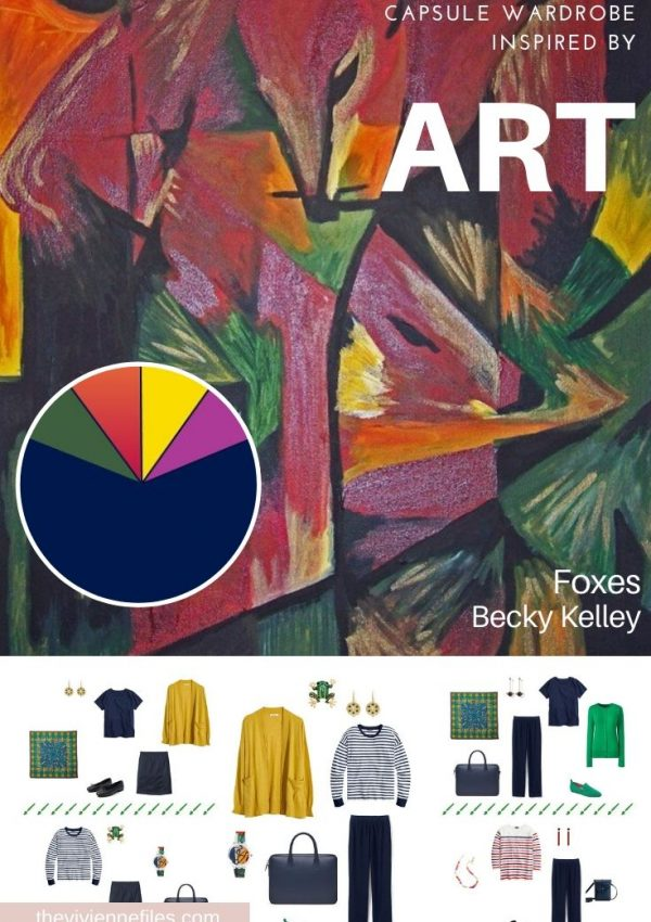 Start a Capsule wardrobe with Art evisiting Tribute to Franz Marc - Foxes by Becky Kelley
