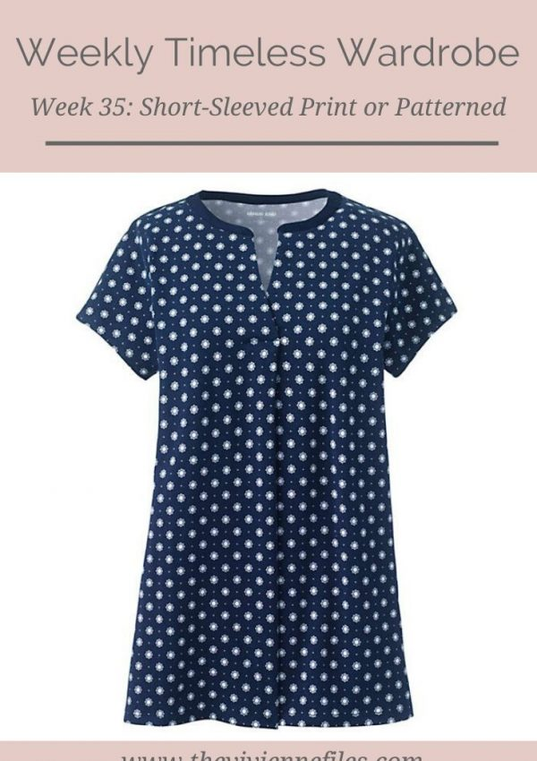THE WEEKLY TIMELESS WARDROBE, WEEK 35: SHORT-SLEEVED PRINT OR PATTERNED TOP