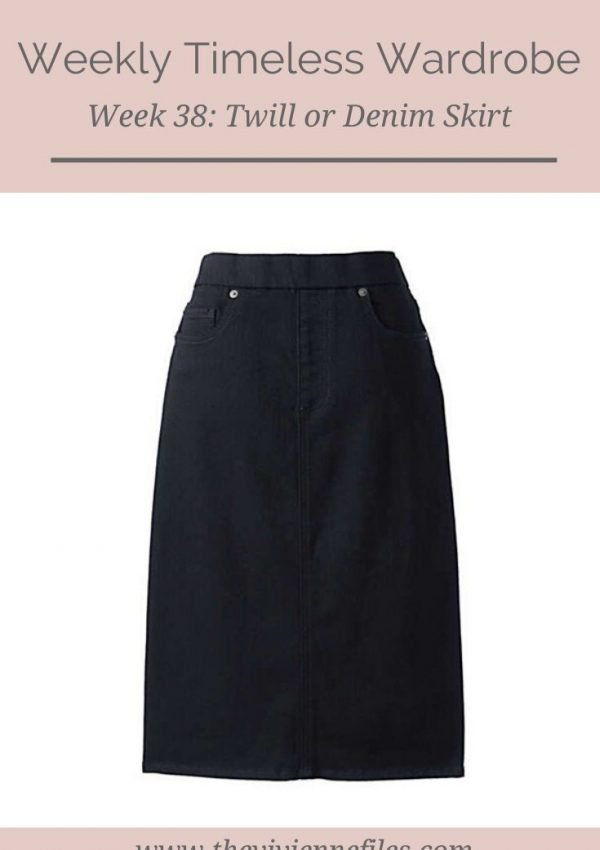 THE WEEKLY TIMELESS WARDROBE, WEEK 38: A TWILL OR DENIM SKIRT