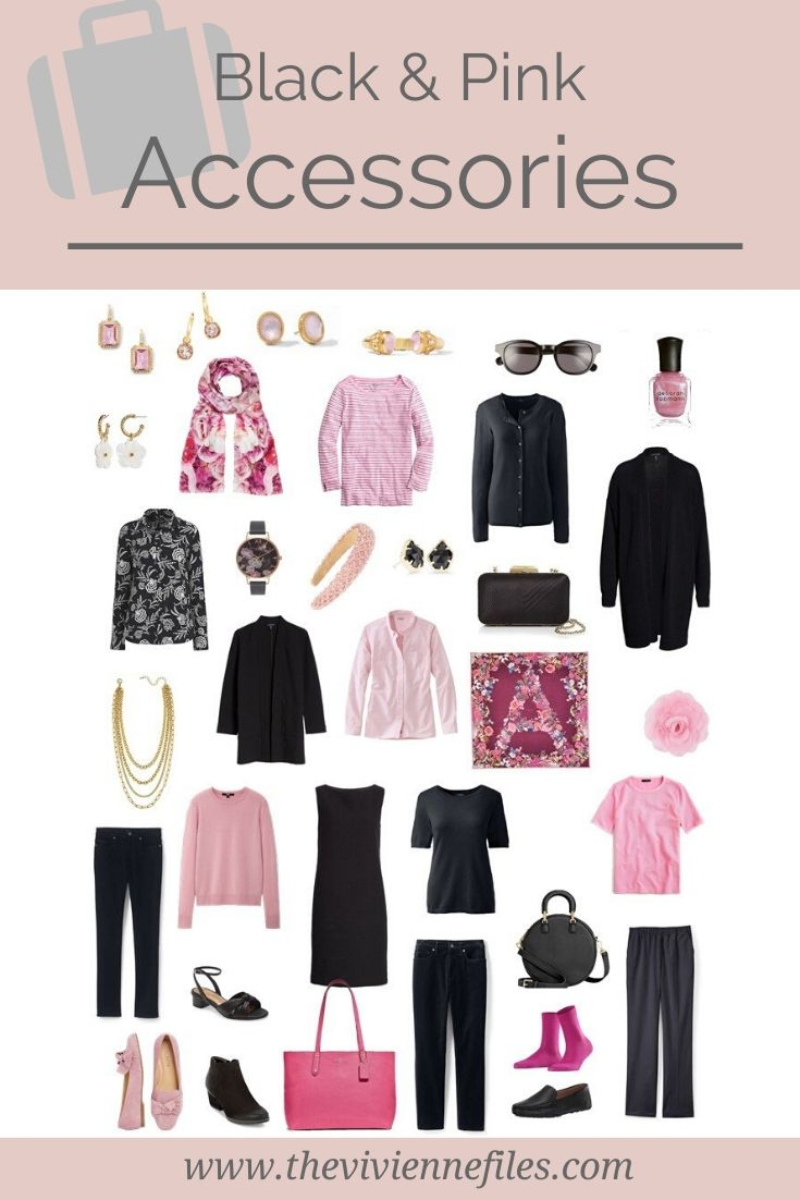 PLANNING ACCESSORIES FOR A TRAVEL CAPSULE WARDROBE, IN BLACK AND PINK