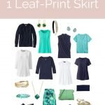 Create a travel capsule wardrobe for summer with a leaf-print skirt