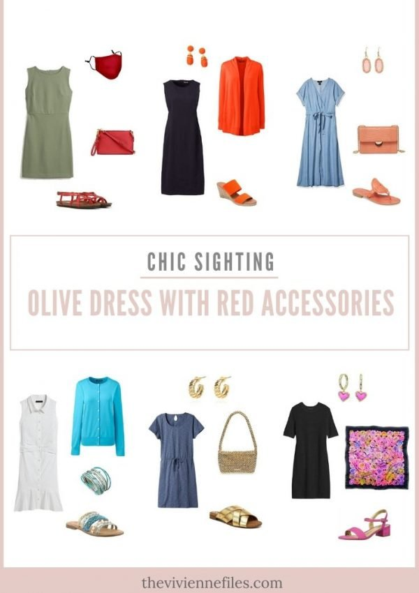 CHIC SIGHTING! OLIVE DRESS WITH RED ACCESSORIES