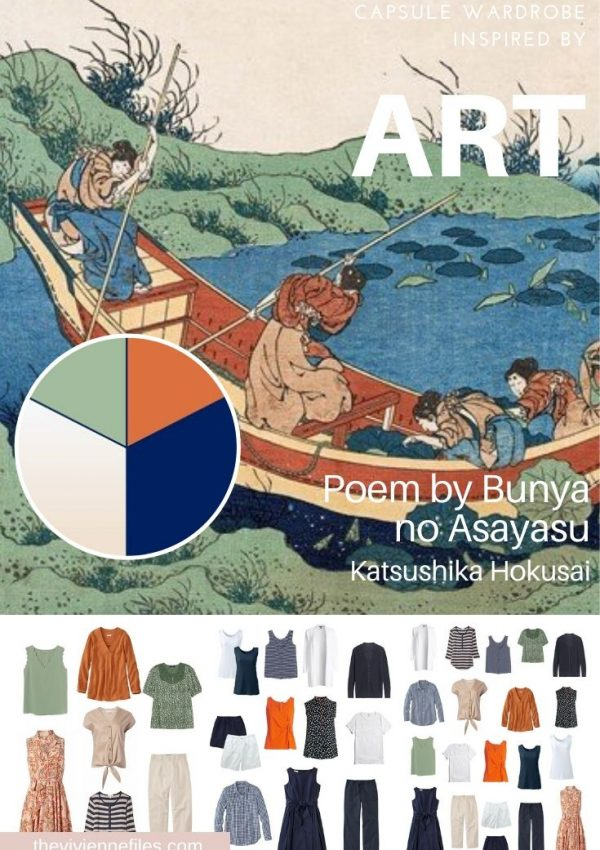 2 MOODS IN 1 TRAVEL CAPSULE WARDROBE: START WITH ART – POEM BY BUNYA NO ASAYASU BY HOKUSAI