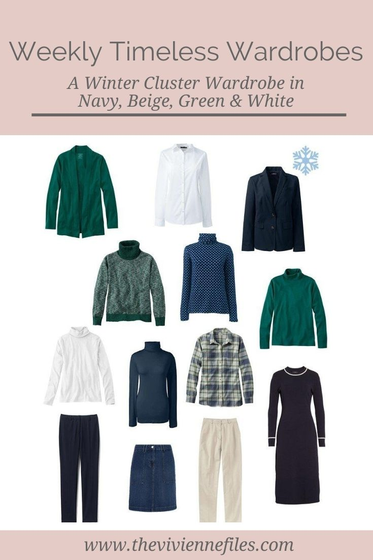 A WINTER CLUSTER WARDROBE IN NAVY, BEIGE, GREEN AND WHITE