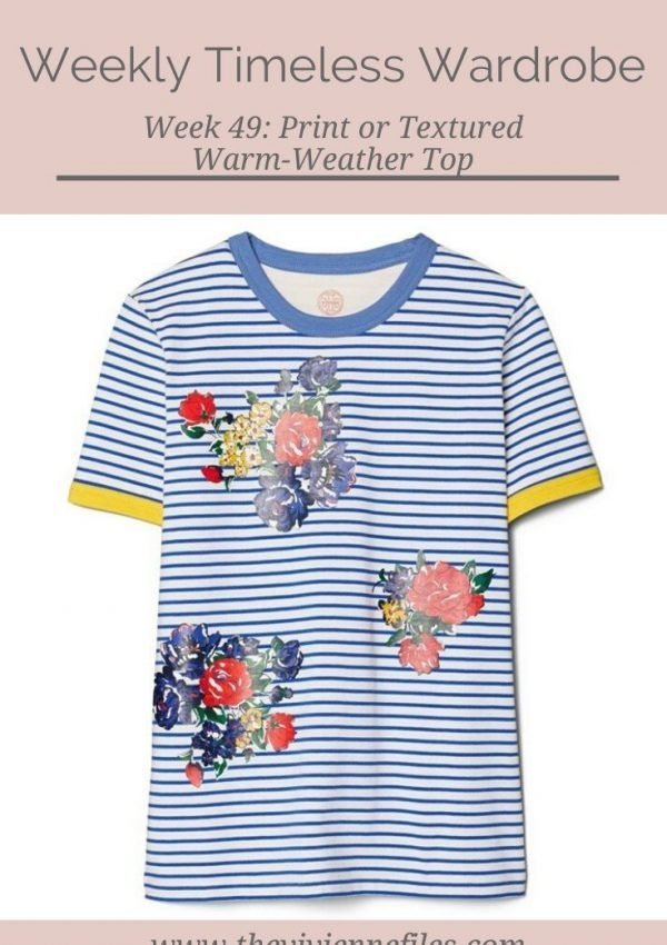 THE WEEKLY TIMELESS WARDROBE, WEEK 49: PRINT OR TEXTURED WARM-WEATHER TOP