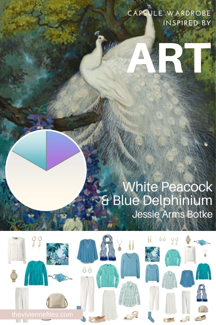 BUILD A TRAVEL CAPSULE WARDROBE – START WITH ART: WHITE PEACOCK & BLUE DELPHINIUM BY JESSIE ARMS BOTKE