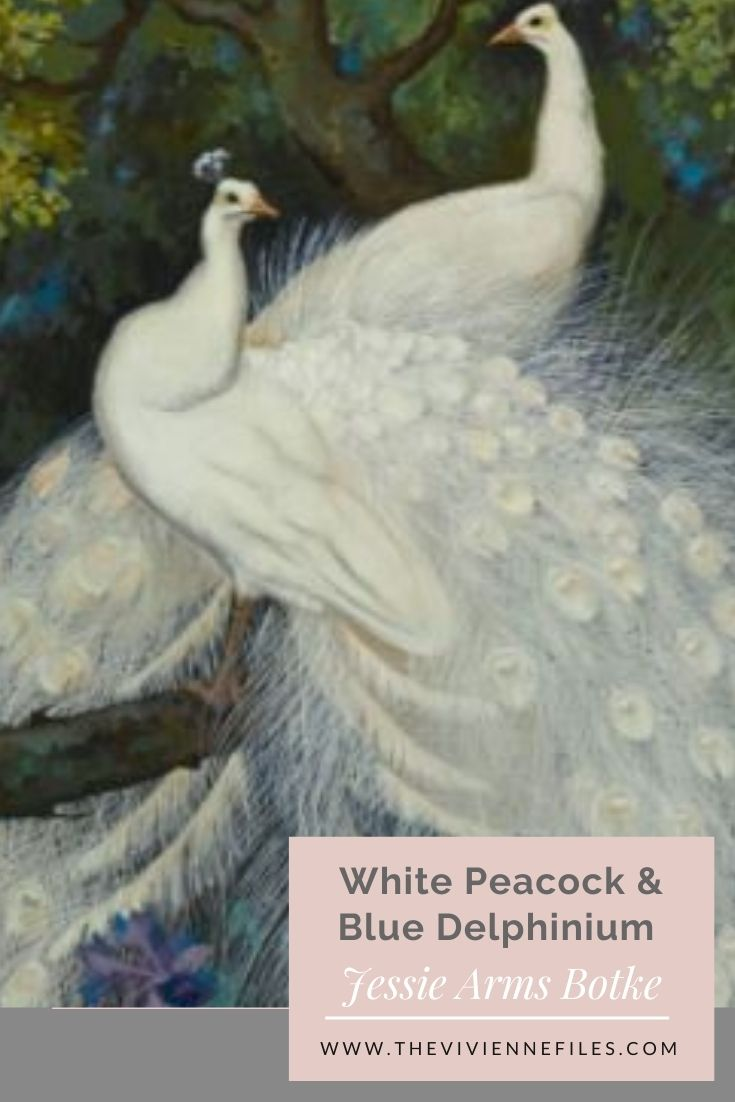 White Peacock and Blue Delphinium by Jessie Arms Botke