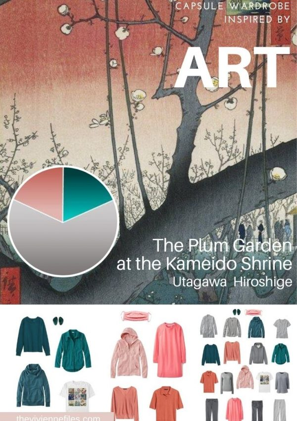 START WITH ART: BUILDING A TRAVEL CAPSULE WARDROBE BASED ON THE PLUM GARDEN AT THE KAMEIDO SHRINE BY UTAGAWA HIROSHIGE