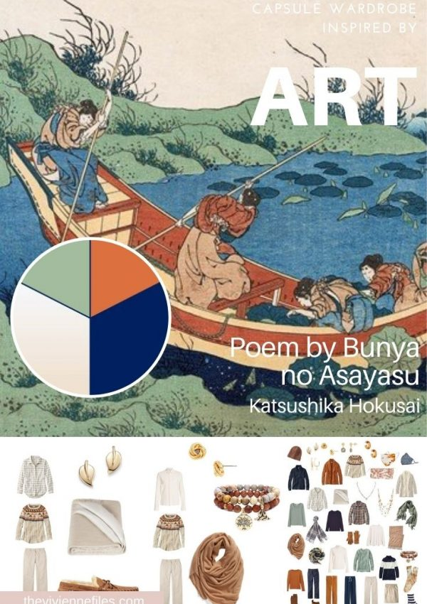 START WITH ART: ADDING ACCESSORIES TO A WARDROBE – POEM BY BUNYA NO ASAYASU BY HOKUSAI