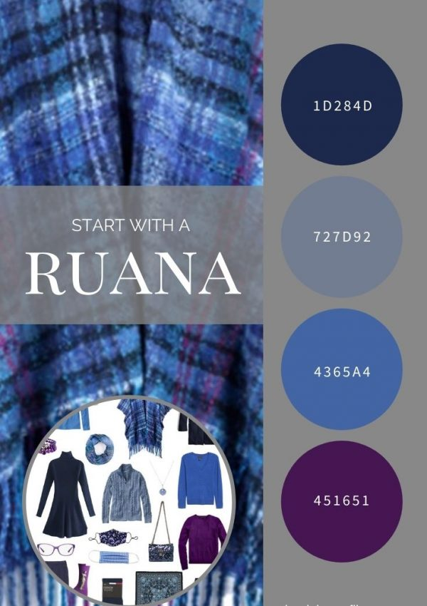 START WITH A RUANA! NAVY LOFTY PLAID RUANA BY ECHO