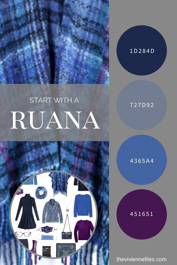 START WITH A RUANA! NAVY LOFTY PLAID RUANA BY ECHO