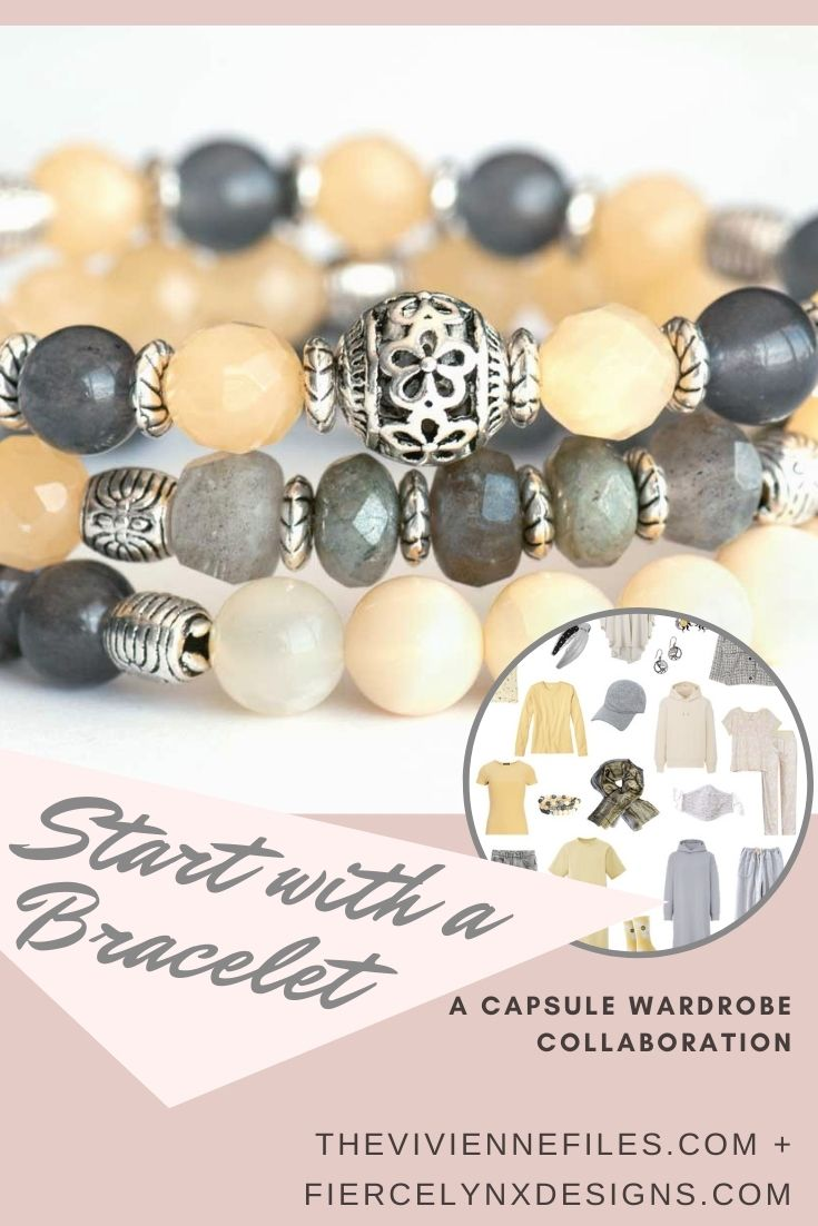 how to build a capsule wardrobe starting with a yellow and gray Bracelet