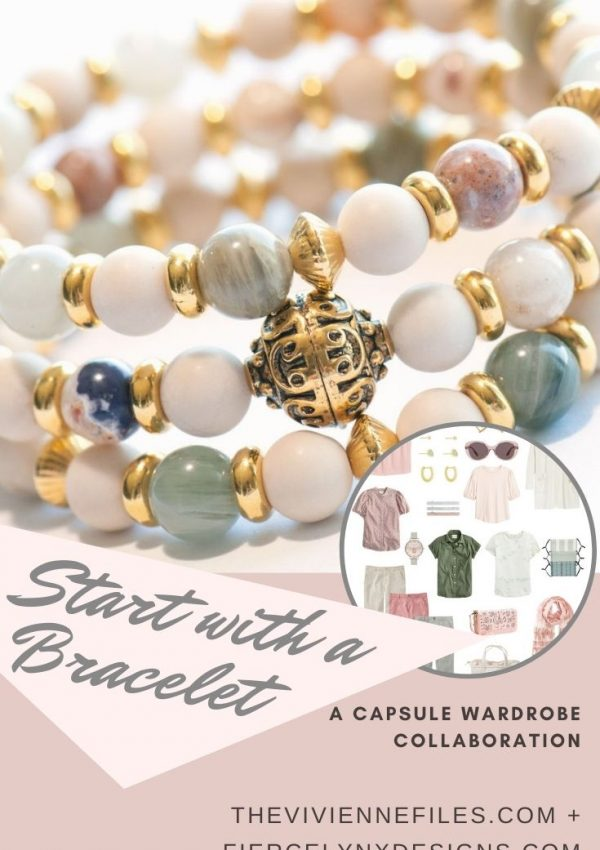 Build a capsule wardrobe starting with a bracelet in desert tones