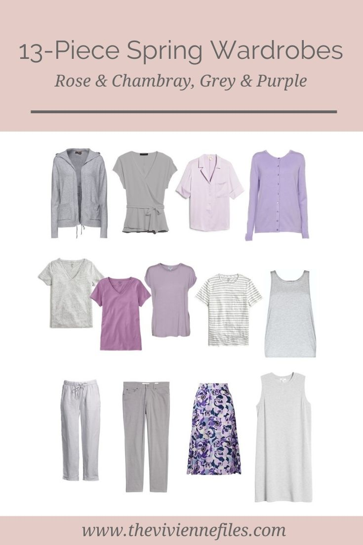 13-PIECE SPRING WARDROBES – ROSE AND CHAMBRAY, GREY AND SHADES OF PURPLE