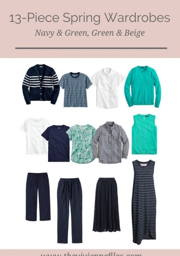 2 SPRING CAPSULE WARDROBES – NAVY AND GREEN, GREEN AND BEIGE