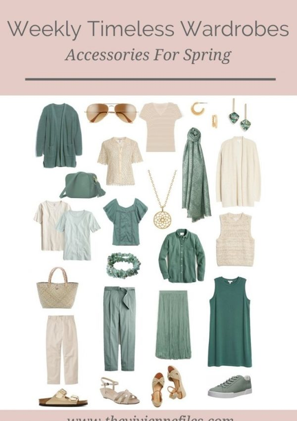 ACCESSORIES FOR 2 SPRING WEEKLY TIMELESS WARDROBES – BEIGE & RUST, BEIGE & GREEN