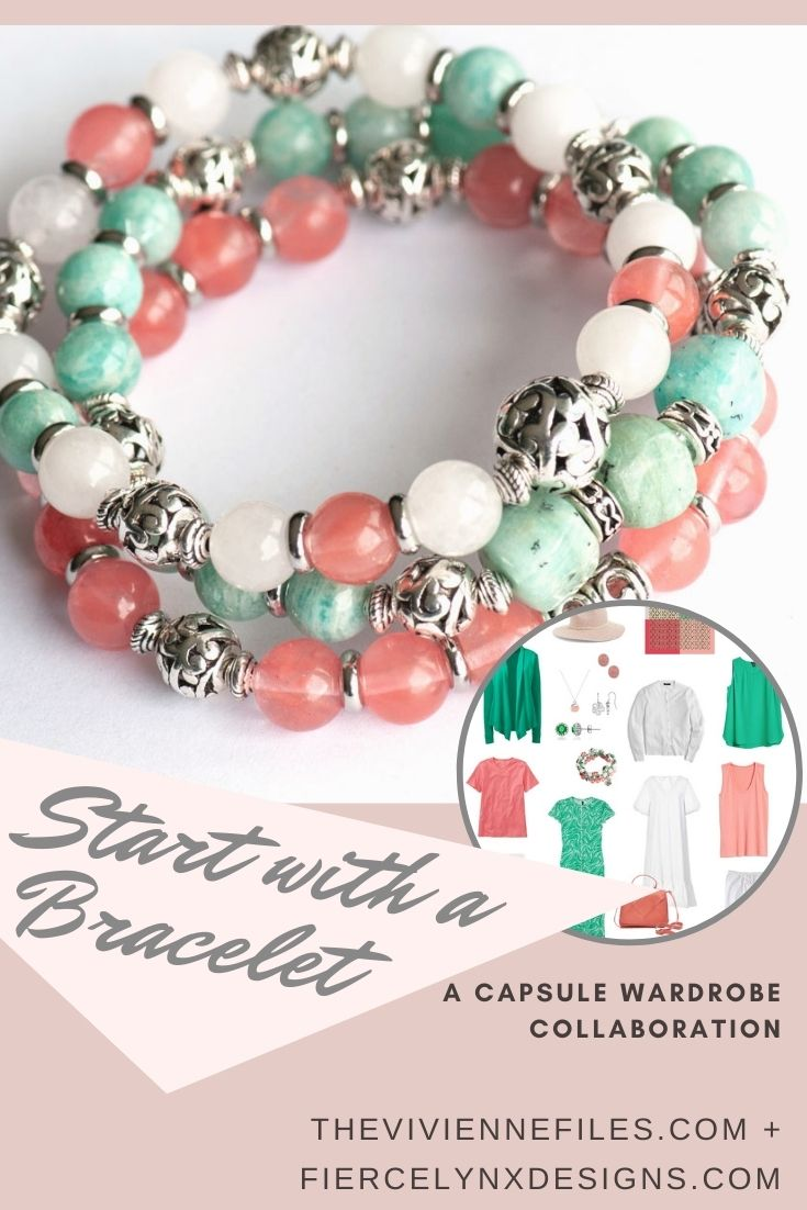 Build a capsule wardrobe starting with a bracelet in tropical tones