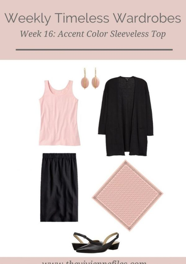 WEEKLY TIMELESS WARDROBE #16 – AN ACCENT COLOR SLEEVELESS TOP