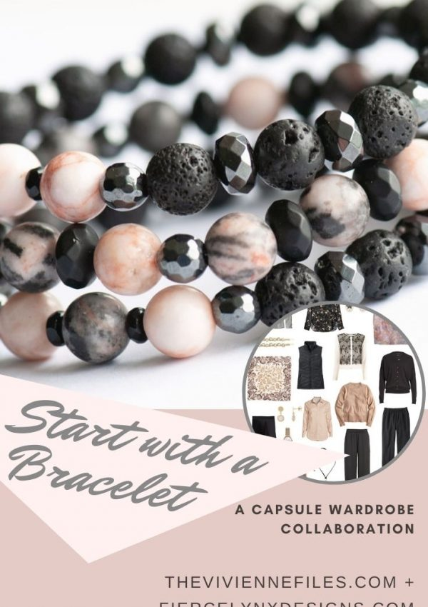 Build a capsule wardrobe starting with an diffuser bracelet in black and blush